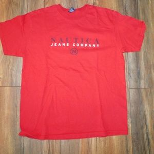 Vintage Nautica Jeans Co. Red Large T-Shirt